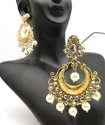 Satyam Kraft Gold Plated Chandbali Pearl Kundan Jhumka Jhumki Earrings For Women