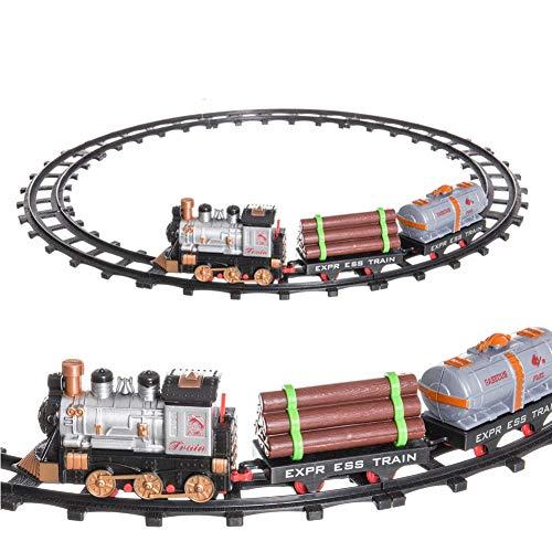 Tera Toys Pista Treno Trenino Elettrico per Bambini Lunghezza 144 cm con Binari Locomotiva e Vagoni Merci