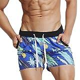 iYmitz Badeanzug Herren Atmungsaktive Badehose Hosen Bademode Shorts Slim Wear Bikini Schnelltrocknend Boardshorts Sweatpants(A-Blau,EU-44/CN-L)