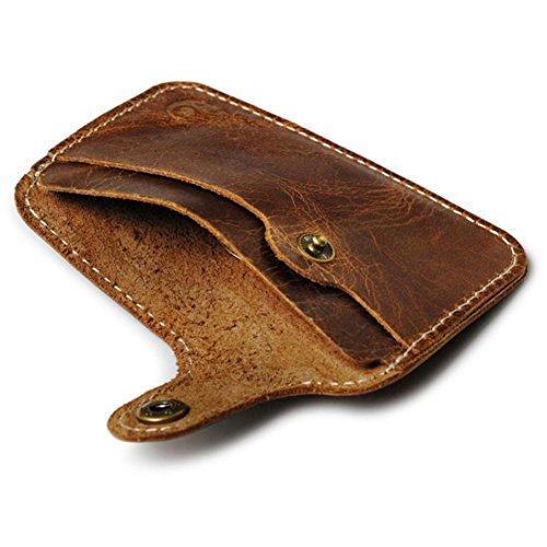 Kartentasche Herren Damen Brieftasche Sunday Mode Geldscheinklammer Dünne Kreditkarte ID Halter Mappen Geld Bargeld Halter Brieftasche (100mm, braun) (Id Damen Brieftasche)