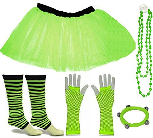 Express Mädchen Kostüm - A-Express Grün Mädchen Kinder 8-14 Jahr Neon Tütü Rock Gestreifte Beinstulpen Fischnetz Handschuhe Halskette Tüll Verkleidung Party TutuRock Kostüm Set