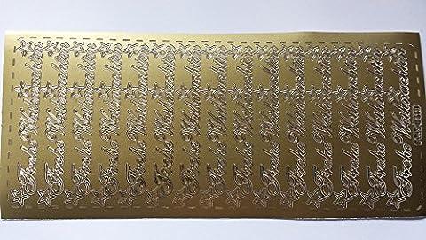 bastelkoerble® Sticker , 2 Bogen , Frohe Weihnachten in gold (15 Schriftzüge) Kartengestaltung