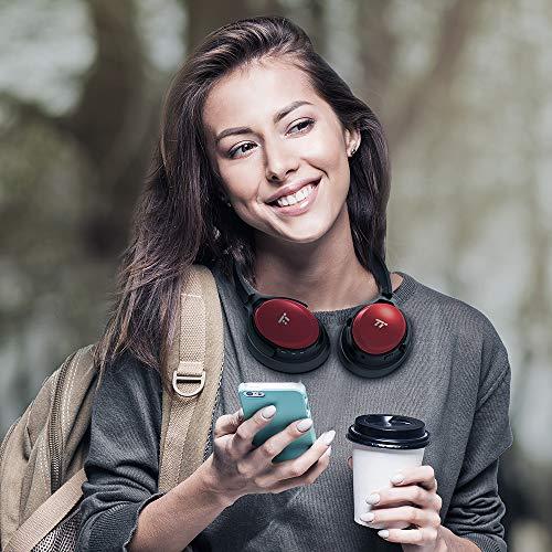 TaoTronics Noise Cancelling Kopfhörer Bluetooth Kopfhörer Over Ear mit aktiver Rauschunterdrückung 25 Std. Laufzeit, TT-BH22 eingebautes Mikro CVC 6.0, duale 40 mm Tieftontöner, Faltbare Ohrhörer rot - 2
