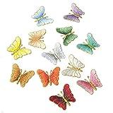 CAOLATOR 12Stk Aufnäher Stoff Aufkleber Schmetterling Patch Sticker Klein Aufbügeln DIY Kleidung Applikation Patches Flicken mit Kleber für T-Shirt Jeans Taschen Schuhe Hüte