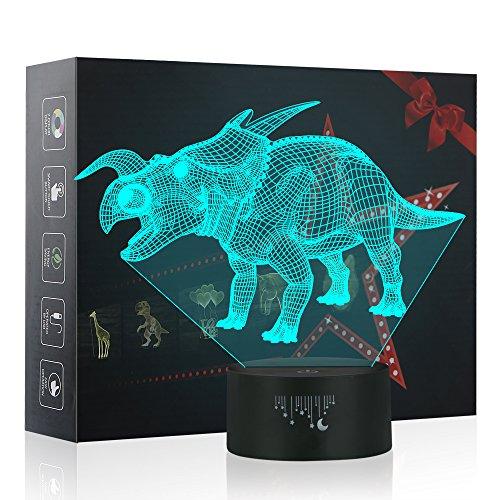 (Dinosaurier 3D Lampe Optische LED Täuschung Nachtlicht, Yunplus 7 Farbwech ändern Berühren Sie Botton Schreibtisch lampe Tischleuchte)