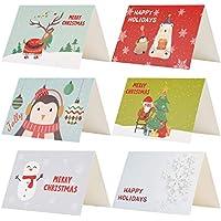 Kesoto 24 Piezas de Tarjetas de Navidad de 6 Modelos Lindos dibujos de Santa, Reno, Muñeco de Nieve, Pingüino y Copos de Nieve, 24 Tarjetas + 24 Pegatinas Navideñas + 24 Sobres