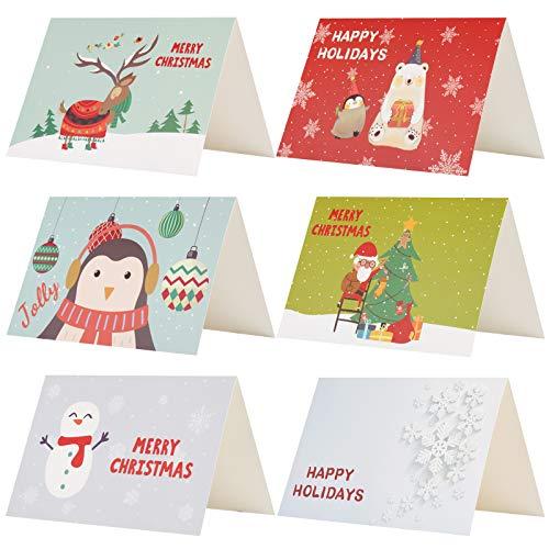 Kesote 24 Piezas Tarjetas Navidad 6 Modelos Diseños