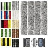 Flauschvorhang 90x200cm Insektenschutz Campingvorhang in Verschiedenen Farben, Auswahl: Unistreifen Grau