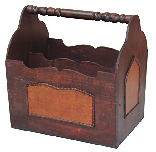 Vintiquewise(TM Handcrafted Decorative Wooden Magazine Rack with Handle
