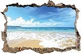 Pixxprint 3D_WD_1410_92x62 Wellen am Strand Wanddurchbruch 3D Wandtattoo, Vinyl, Bunt, 92 x 62 x 0,02 cm