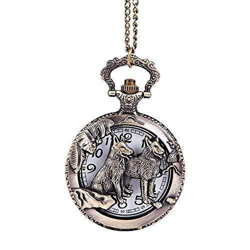 Hnks-jewelry Taschenuhr Bronze Carving Zodiac Tier Hund Vintage Style Loyalität Hund Taschenuhr Taschenuhr groß Für Männer und Frauen (Farbe, Größe : Free Size) -