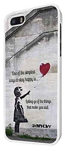 544-Banksy Balloon Girl Funky taux Coque iPhone 44S Design Fashion Trend Case Back Cover Métal et Plastique-Blanc