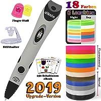 dikale 3D Stifte + PLA 18 Farben + 250 Schablonen eBook - 3D Stifte mit PLA Farben 180 Fuß, 07A 3D Pen als kreatives Geschenk für Erwachsene, Bastler zu kritzeleien, basteln, malen und 3D drücken