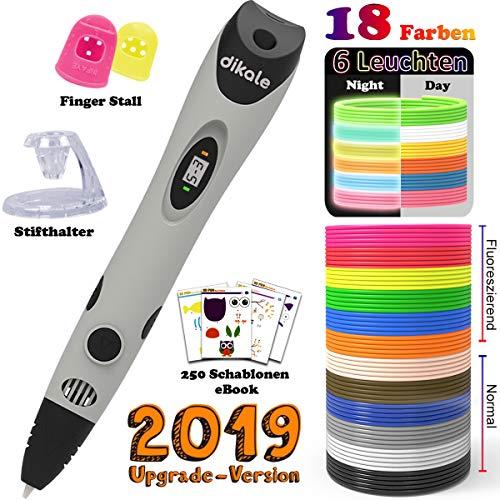3D Stifte + PLA 18 Farben - 【Neueste Version 2018】3D Stifte mit PLA Farben 120 Fuß und 250 Schablonen eBook, Dikale 07A 3D Pen als kreatives Geschenk für Erwachsene, Bastler zu kritzeleien, basteln, malen und 3D drücken