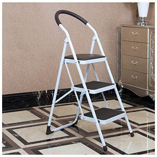 Aluminiumlegierung Indoor Climb Trittleiter Rutschfeste 3-Stufen-Leiter mit Armlehnen DREI Stufen Klappstuhl Hocker Leiter Haushalt Dual Use Outdoor KADJ (Color : Coffee Color) -