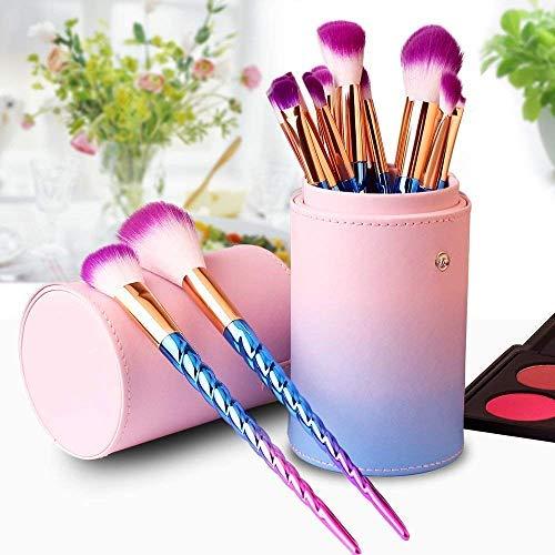 Brochas de Maquillaje,12 pcs Pinceles de maquillaje profesional con estuche, Pincel de maquillaje cosmético de viaje Unicornio para mujeres Facial Cejas Labios (Rosa)