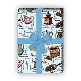 Gezeichnetes Kaffeehaus Geschenkpapier Set (4 Bogen)/Dekorpapier mit Kaffeemühlen und Kaffee Varienten, hellblau, für tolle Geschenkverpackung und Überraschungen basteln 32 x 48cm
