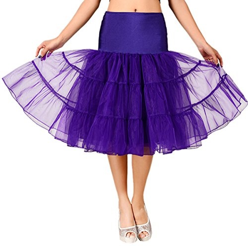 FEOYA 50er Jahre Vintage Petticoat Reifrock Retro Unterrock Underskirt Wedding Bridal Petticoat für Rockabilly Kleid in Mehreren Farben Dunkellila