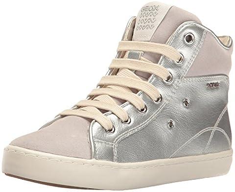 Geox Jr Kiwi A, Sneakers Hautes Fille, Argent (Silverc1007), 39