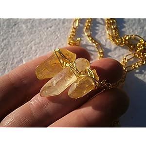 Choker Boho Chic mit Kristallspitzen gelb Festival Unikat mit Quarz als handmade Drahtschmuck vergoldet in langer Kette im Etui als Geschenk