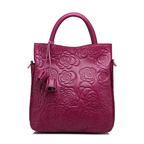 Entwerfer-echtes Leder-Handtaschen-Frauen-Einkaufstasche Grosse Kapazität Blumen prägte Schulter-Beutel durch Realer Lila