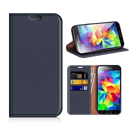 MOBESV Custodia in Pelle Samsung Galaxy S5, Custodia Samsung Galaxy S5 Cover Libro/Portafoglio Porta per Cellulare Samsung Galaxy S5 / S5 Neo - Blu Scuro