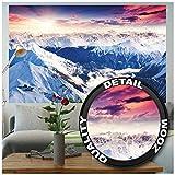 Foto mural Alpes Panorama Mural Decoración Invierno Puesta de sol Nieve Paisaje Naturaleza Montañas Glacier I foto-mural foto póster deco pared by GRE