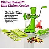 Kitchen Bazaar Elite Kitchen Combo - Fruit & Vegetable Manual Juicer Mixer Grinder With Steel Handle, 6 In 1 ,Set Of 3, Green