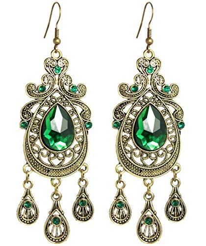 2LIVEfor Grüne Statement Ohrringe sehr lang hängend Smaragd-Grün Ohrringe Ethno in Tropfenform verziert Ohrringe Bohemian Vintage Ohrhänger Lang Gold gruen Antik