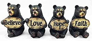 Set of Four Bears Whimsical Cute Black Bear Holding Love Believe Faith and Hope Sign Plaque Small Figurines Western Decor Rustic Nature Lovers Gift by Gifts & Decor from Gifts Decor