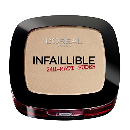 Tragen Sie Flüssiges Make-up (L'Oréal Paris Infaillible Puder, 225 Beige / Kompaktpuder für das perfekte Finish & bis zu 24h Halt / Hautschonendes Powder für alle Hauttypen / 1 x 9 g)