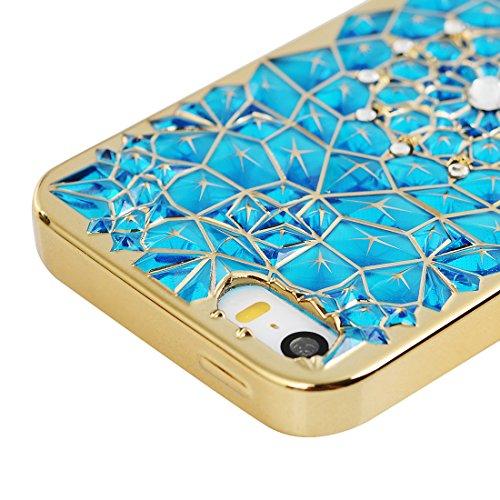 Mavis's Diary Coque iPhone 5/iPhone 5S/iPhone SE TPU Souple Bling Strass Fleur Housse de Protection Étui Téléphone Portable Phone Case Cover couleur 3