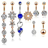 Best Belly Rings - Outee 8 pieces Belly Button Rings Stainless Steel Review