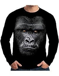 Velocitee Mens Long Sleeve T Shirt Majestic Gorilla A15440