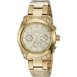 INVICTA 17901 - Reloj de cuarzo para mujer, correa de acero inoxidable chapado en oro color dorado