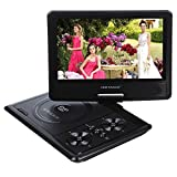DBPOWER 9.5 Tragbarer DVD-Player mit drehbarem Display, unterstützt SD Karte und USB, Direct Play in den Formaten MP4/AVI/RMVB/MP3/JPEG_969,Schwarz