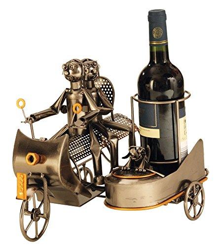 Extravaganter Wein Flaschenhalter Motorrad mit Beiwagen aus Metall Höhe 27 cm