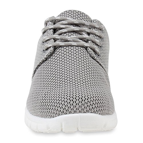 Herren Sportschuhe Muster | Laufschuhe Übergrößen | Sneakers Profilsohle | Blumen Runners Grau Grau Weiss