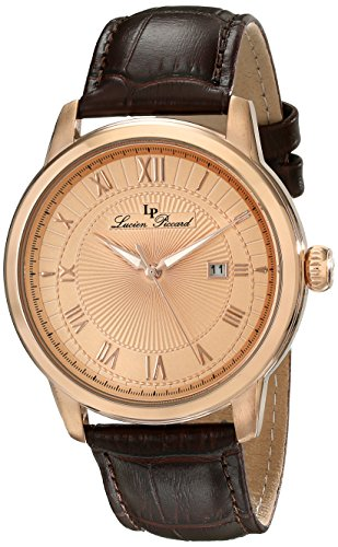 Lucien Piccard Solstice 12758-RG-09 44mm Stainless Steel Case Brown Calfskin Mineral Men's Watch