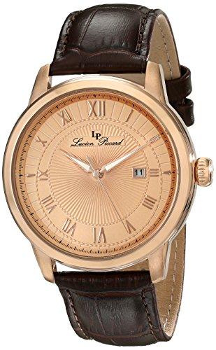 Lucien Piccard Solstice 12758-RG-09 44mm Stainless Steel Case Brown Calfskin Mineral Men's Watch