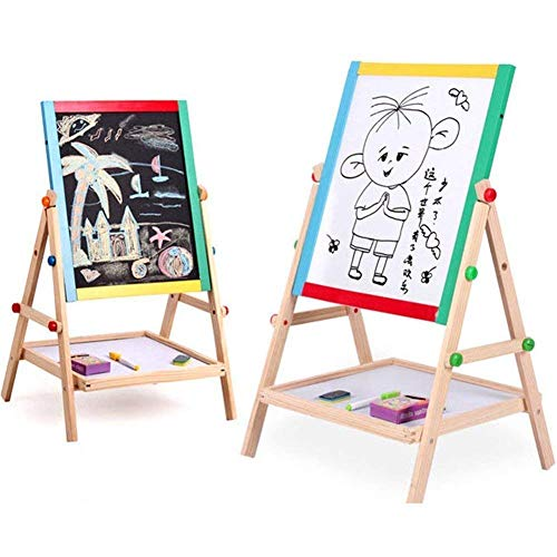 ARIRA Magnetic Black and White Board Double Sided Wooden Kids Drawing Easel with Marker Duster Chalkbox (Foldable)