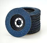 10pieza Compartimiento Discos inox Azul grano 120–Diámetro 115mm/Inox Compartimiento Discos/cepillo de lija (Platos/Compartimiento de lija