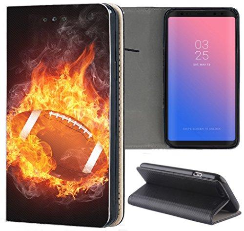 KUMO Hülle für Samsung Galaxy A6 2018 Handyhülle Design 1367 American Football Ball Sport aus Kunstleder Schutzhülle Smart Cover Klapphülle Handy Case Hülle für Samsung Galaxy A6 2018