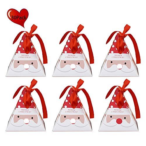 JYCRA Geschenkboxen, Set mit 30 dekorativen Leckereien, Kuchen, Kekse, Süßigkeiten, Geschenkverpackungen für Weihnachten, Geburtstage, Urlaub, Hochzeit 8x8x9CM Santa Claus