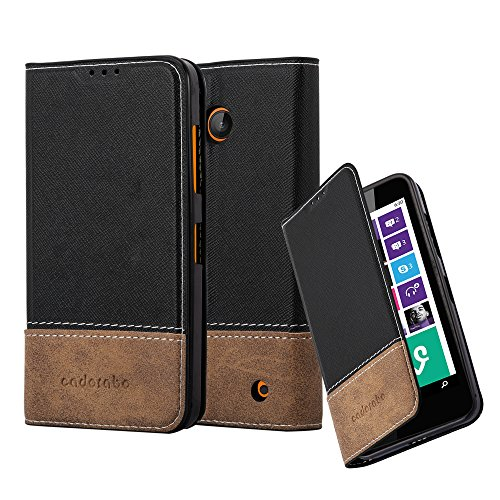 Cadorabo Hülle für Nokia Lumia 630 - Hülle in SCHWARZ BRAUN – Handyhülle mit Standfunktion und Kartenfach aus Einer Kunstlederkombi - Case Cover Schutzhülle Etui Tasche Book