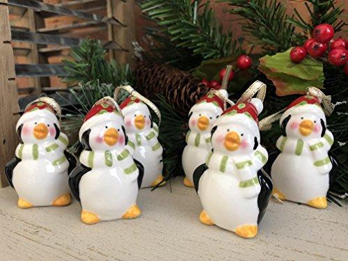 Homes On Trend Set von 6 Kleine Keramik Festliche Penguin Weihnachtsbaumschmuck Chic Ornaments