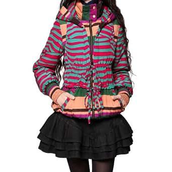 Artka Women's Stripe Patchwork Detachable Sleeve Wadded Jacket, Multicolored, S