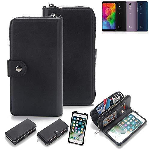 K-S-Trade 2in1 Handyhülle für LG Electronics Q7 Alfa Schutzhülle & Portemonnee Schutzhülle Tasche Handytasche Case Etui Geldbörse Wallet Bookstyle Hülle schwarz (1x)