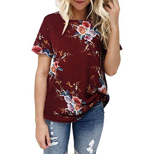 Sommer Oberteile CLOOM Chiffon Outwear Damen Bluse Kurzarm Tops Women Sweatshirt Retro Vintage Elegant Bluse Groß Blume Frauenhemden rundhals oversize große größen T-Shirts (Rot, XL) (Tank Ribbed Gedruckt)