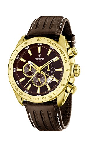 Festina PRESTIGE Men's Quartz Watch with Brown Dial Chronograph Display and Brown Leather Strap F16879/3